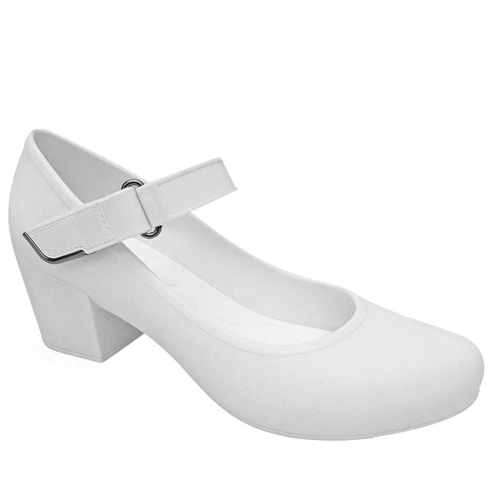 Sapato Branco Boneca Feminino Boa Onda Enfermagem Salto Baixo Macio