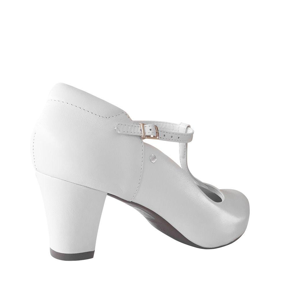 Sapato Branco Boneca Salto Confortável