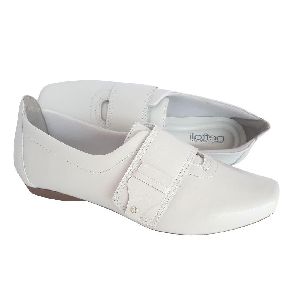 Sapato Branco Couro Enfermagem Profissional Neftali Nr32