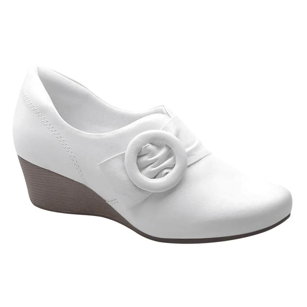 Sapato Branco Enfermagem Branco Couro Anabela Neftali