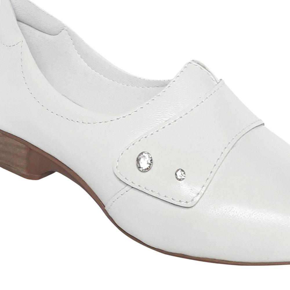 Sapato Branco Enfermagem Fechado Neftali Couro Salto Baixo