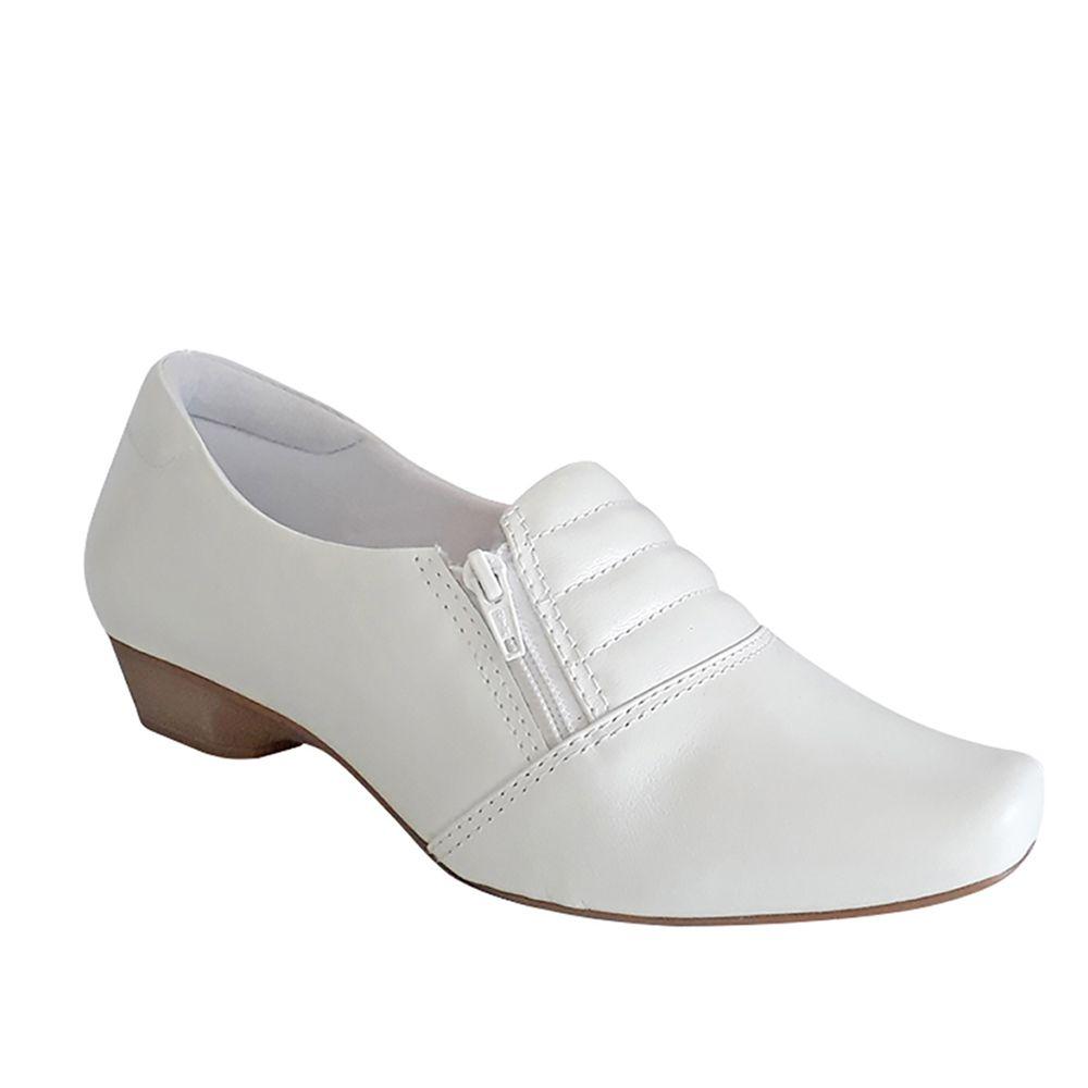 Sapato Branco Enfermagem Salto Baixo Fechado Couro