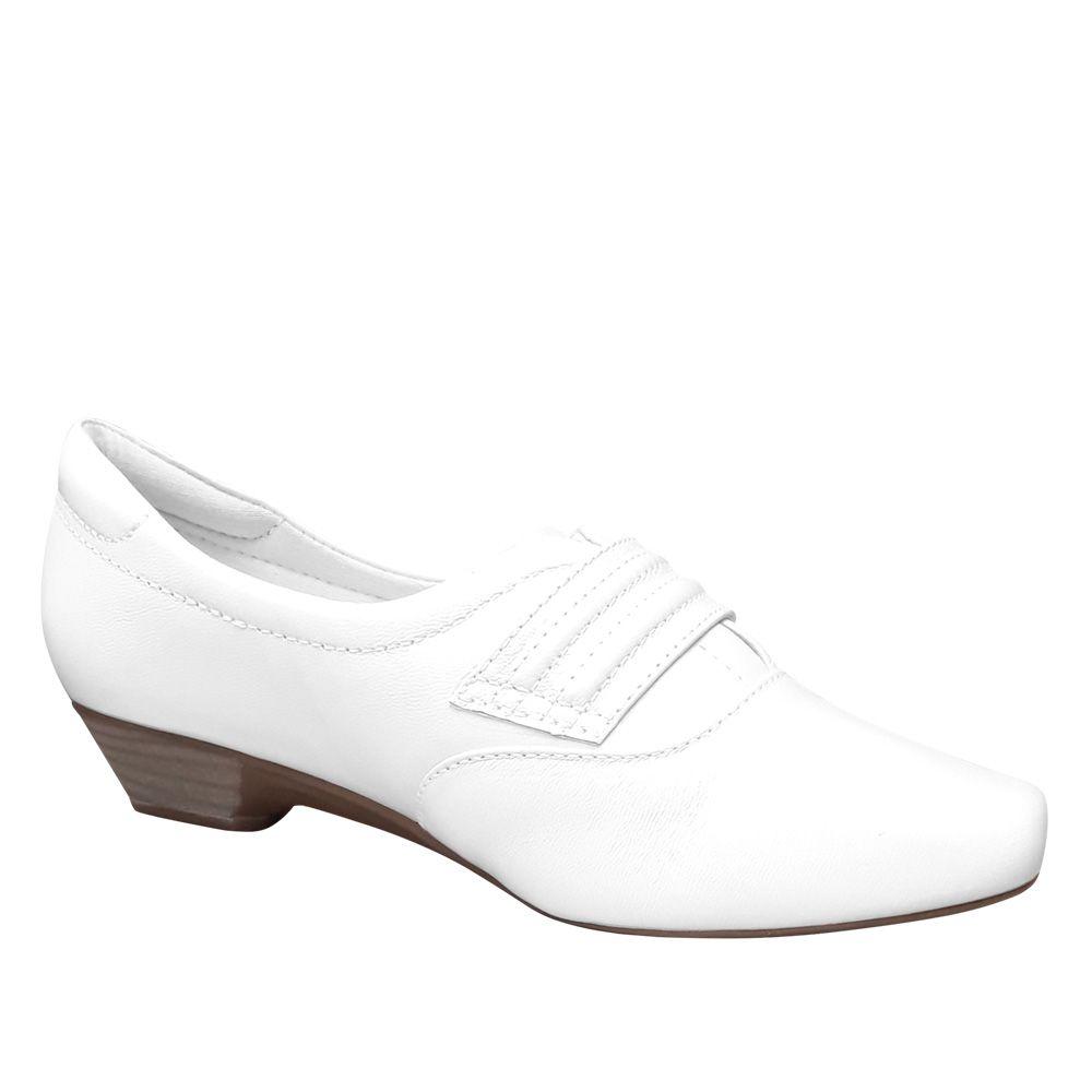 Sapato Branco Fechado Couro Enfermagem Neftali Nr32 Conforto