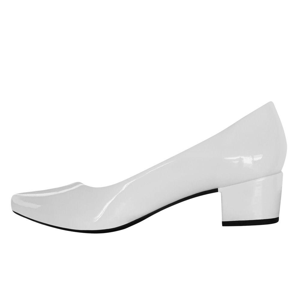 Sapato Branco Noiva Enfermagem Daminha Salto Baixo Grosso
