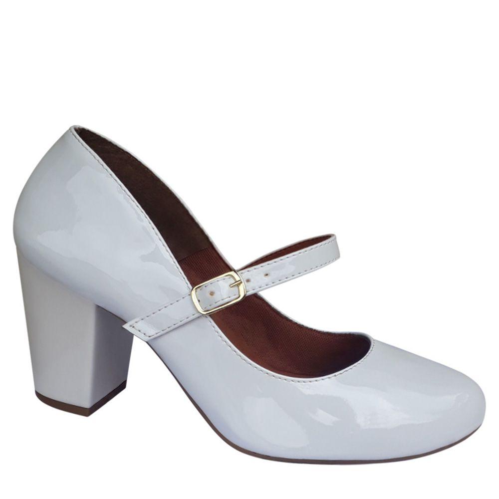 Sapato Branco Noiva Festa Modelo Boneca Salto Alto Grosso