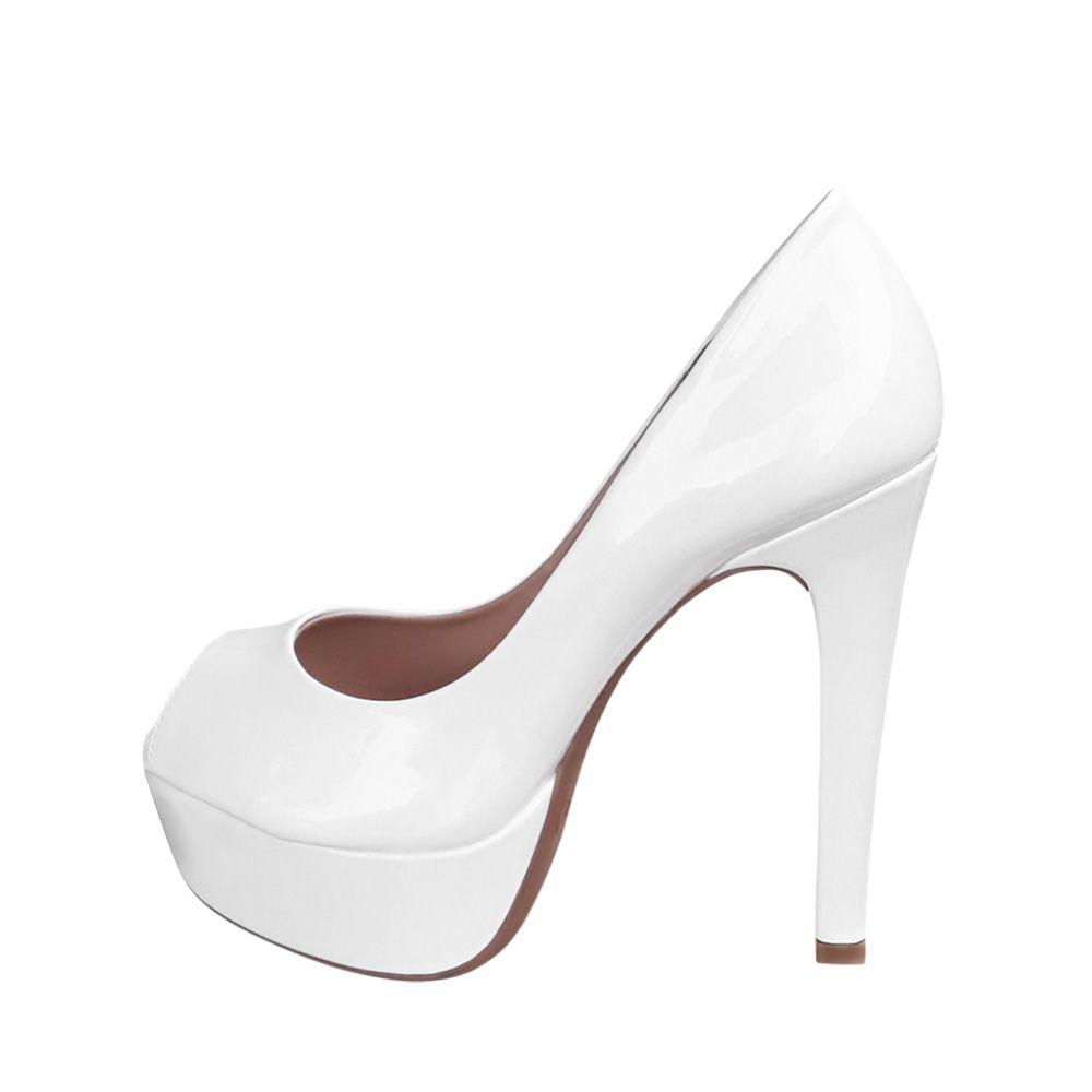 a72b256e6 ... Sapato Branco Peep Toe Meia Pata Salto Alto Noiva Debutante Festa 15  anos - Duani ...