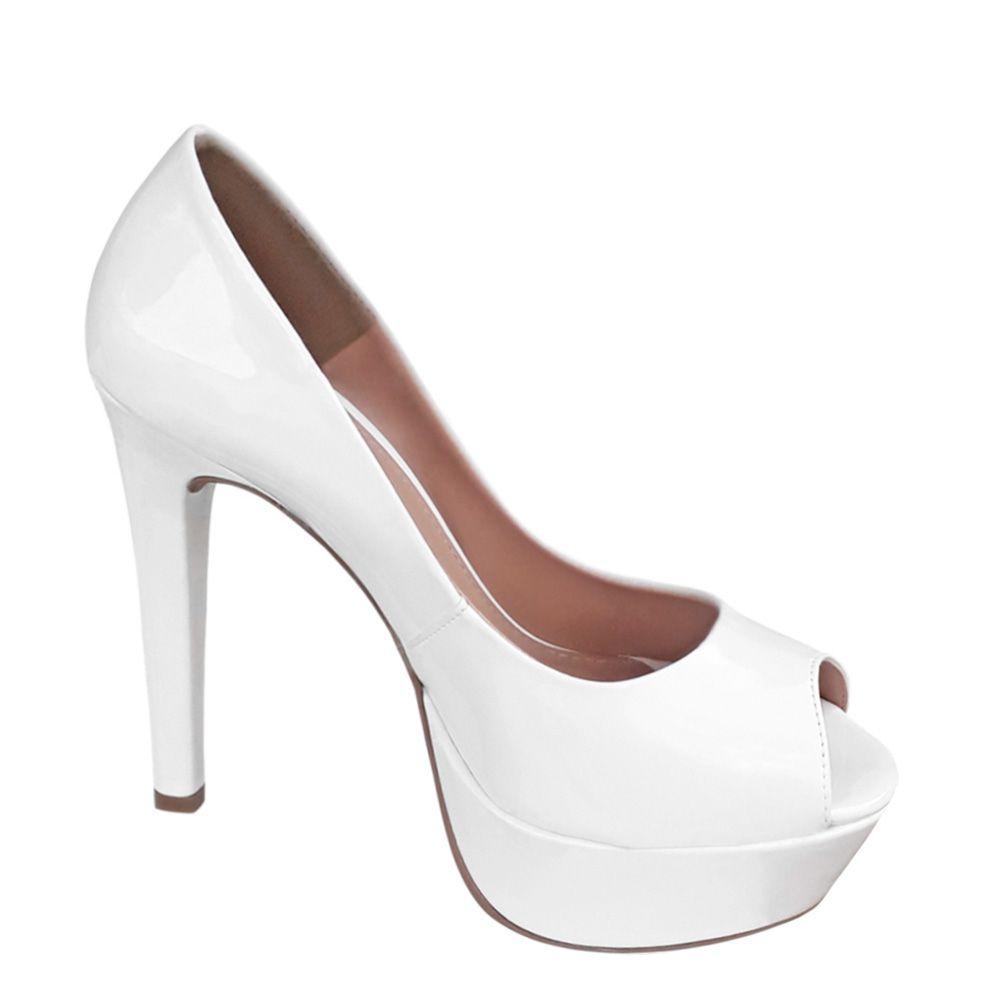 Sapato Branco Peep Toe Meia Pata Salto Alto Noiva Debutante Festa 15 anos