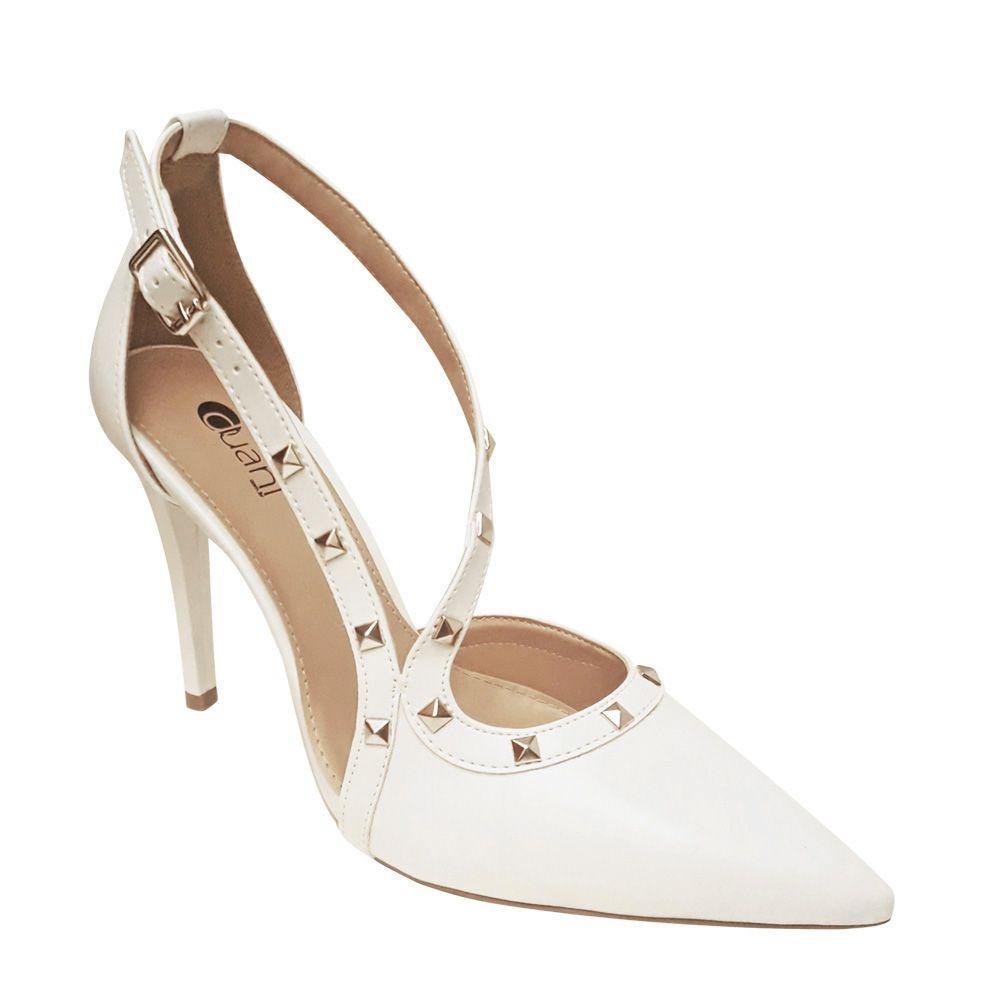a4cca7dca Sapato Branco Scarpin Noiva Spike Salto Alto Festa Debutante 15 Anos - Duani  ...