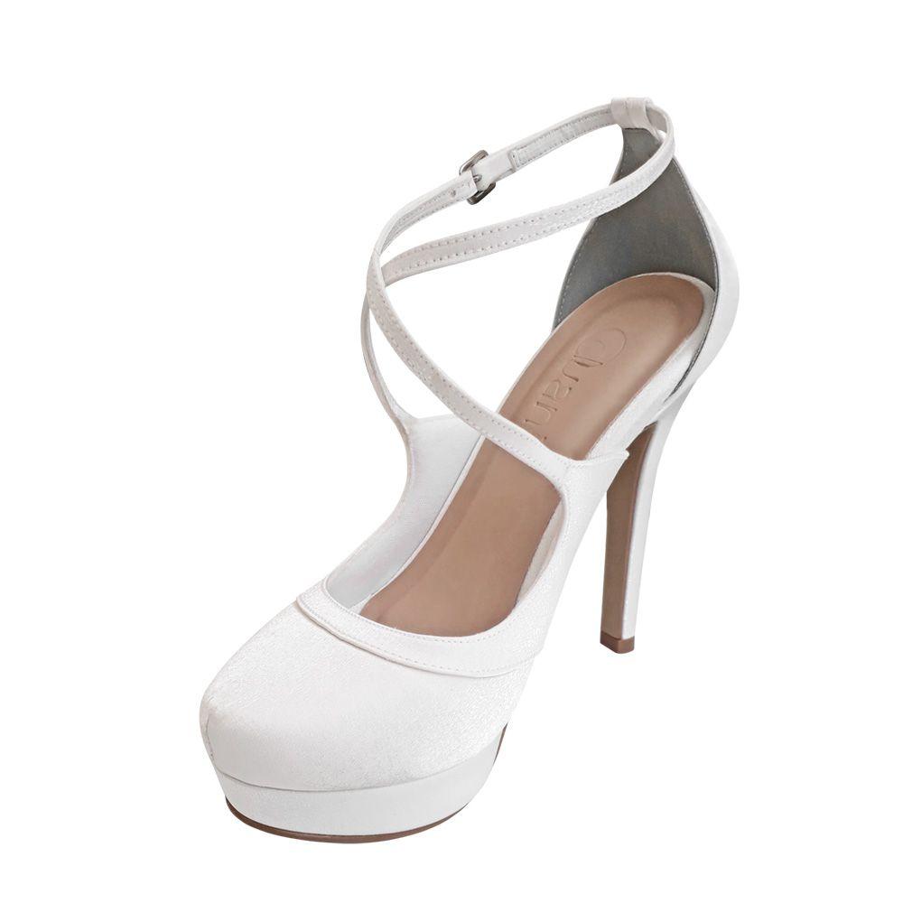 Sapato Cetim Cristal Branco Salto Alto Noiva Festa