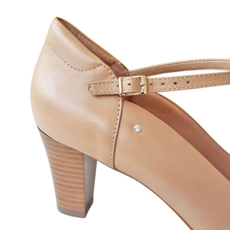 Sapato de dança boneca nude bege salto medio 6,5cm