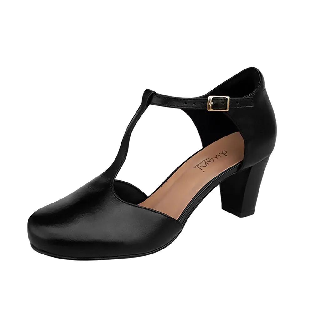 Sapato de Dança Preto Duani Salto Médio Confortável