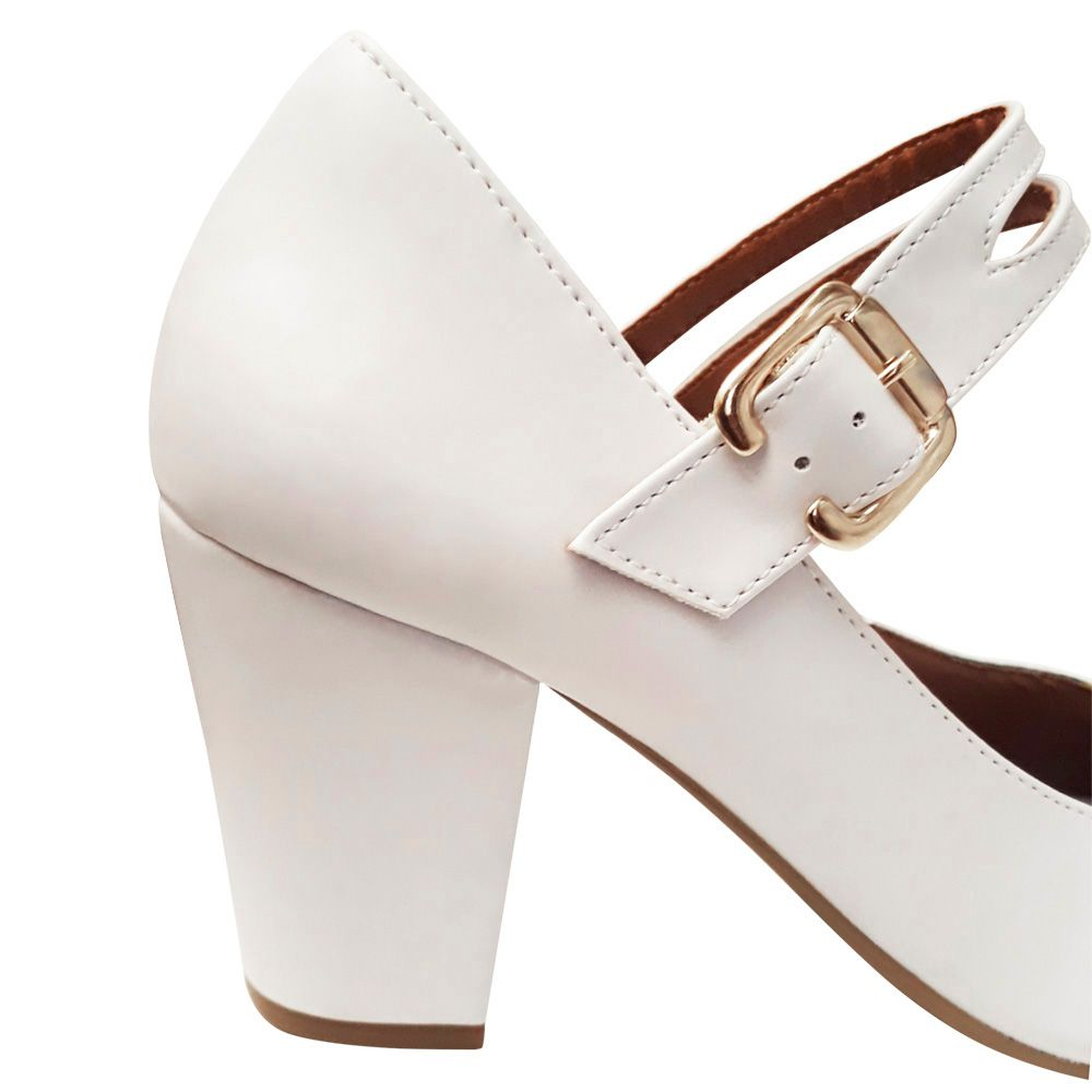 Sapato De Noiva Debutante Festa 15 Anos Branco Modelo Boneca Salto Grosso