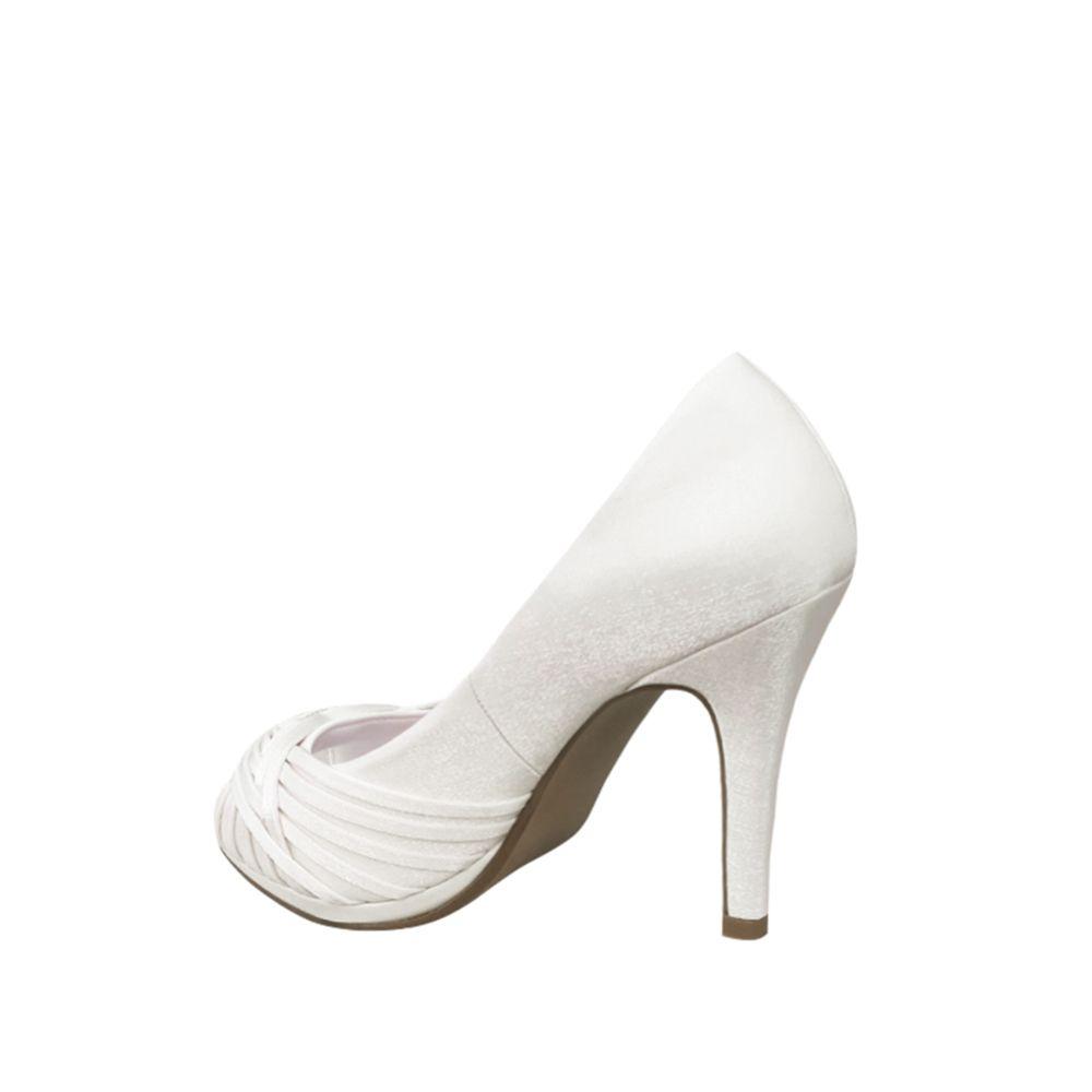 Sapato de Noiva Peep Toe Branco Salto Alto