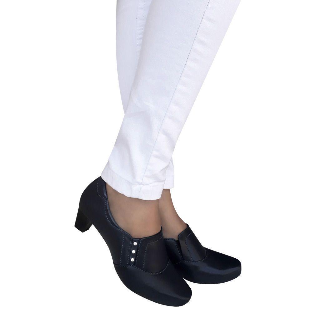 Sapato Feminino Azul Marinho Escuro Enfermagem Couro Neftali