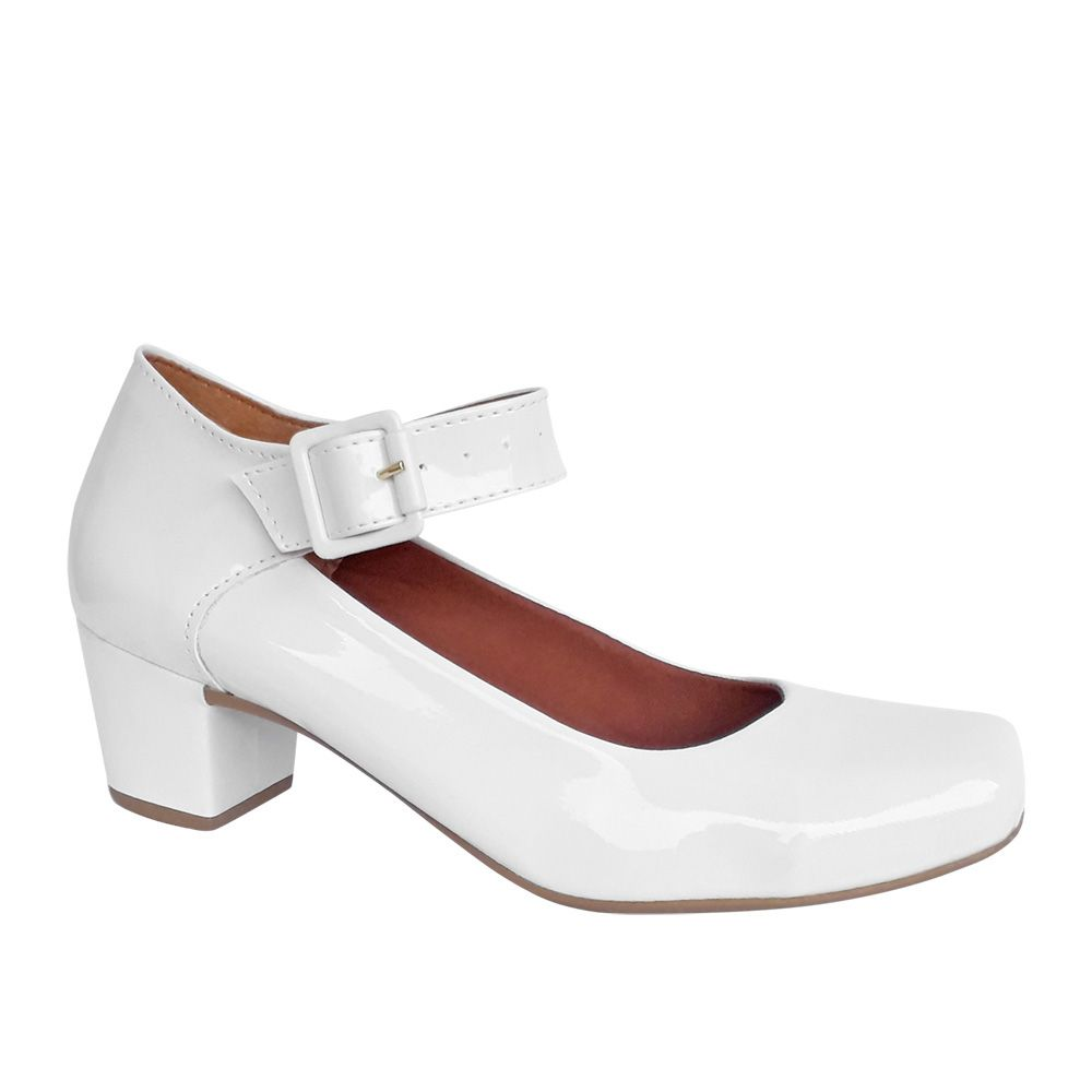 Sapato Feminino Boneca Noiva Branco Verniz Salto Baixo Grosso
