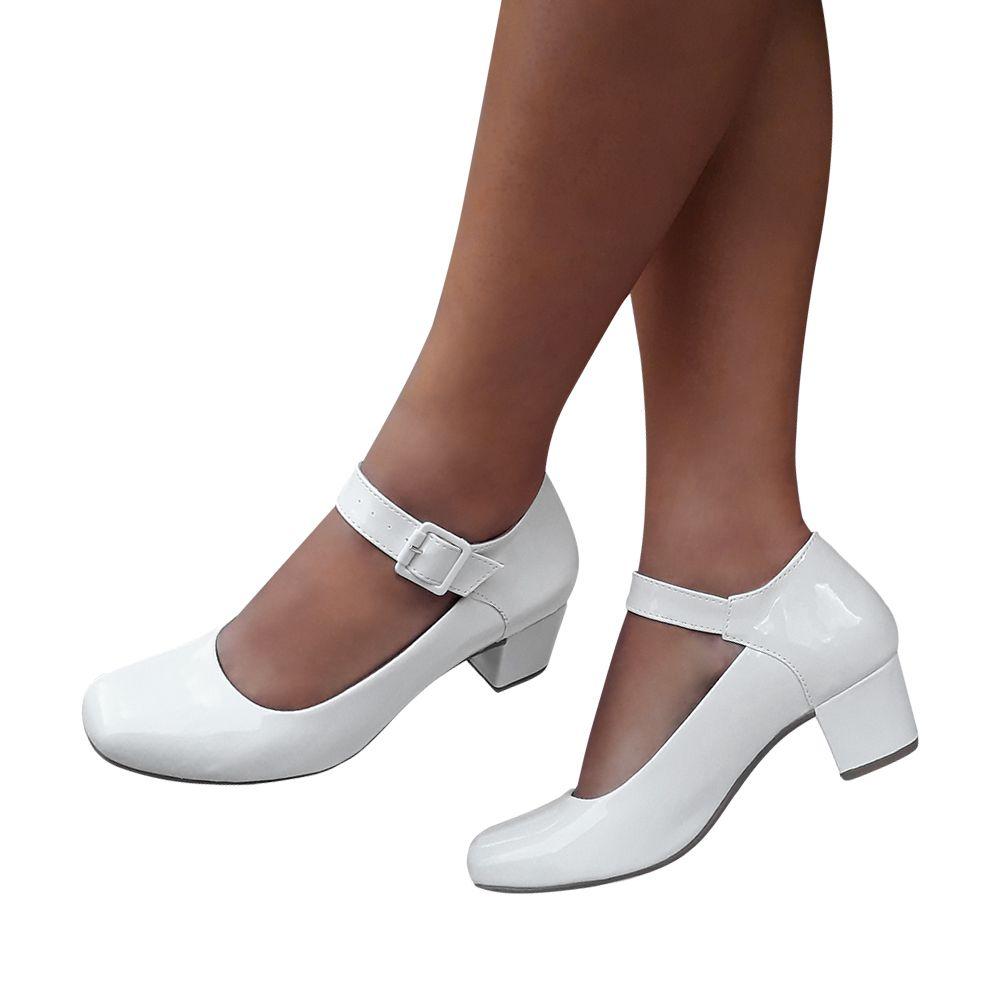 Sapato Feminino Boneca Branco Verniz Enfermagem Salto Baixo Grosso