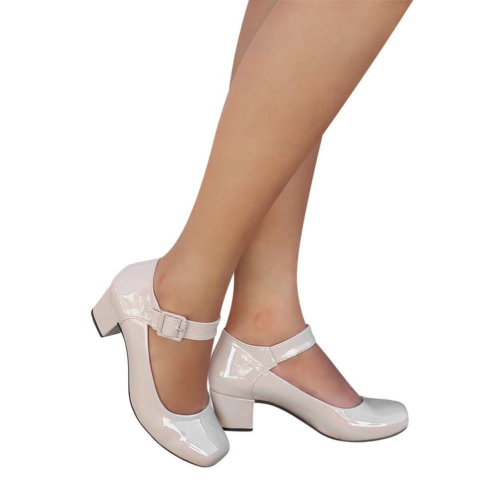 Sapato Feminino Boneca Creme Bege Salto Grosso Duani
