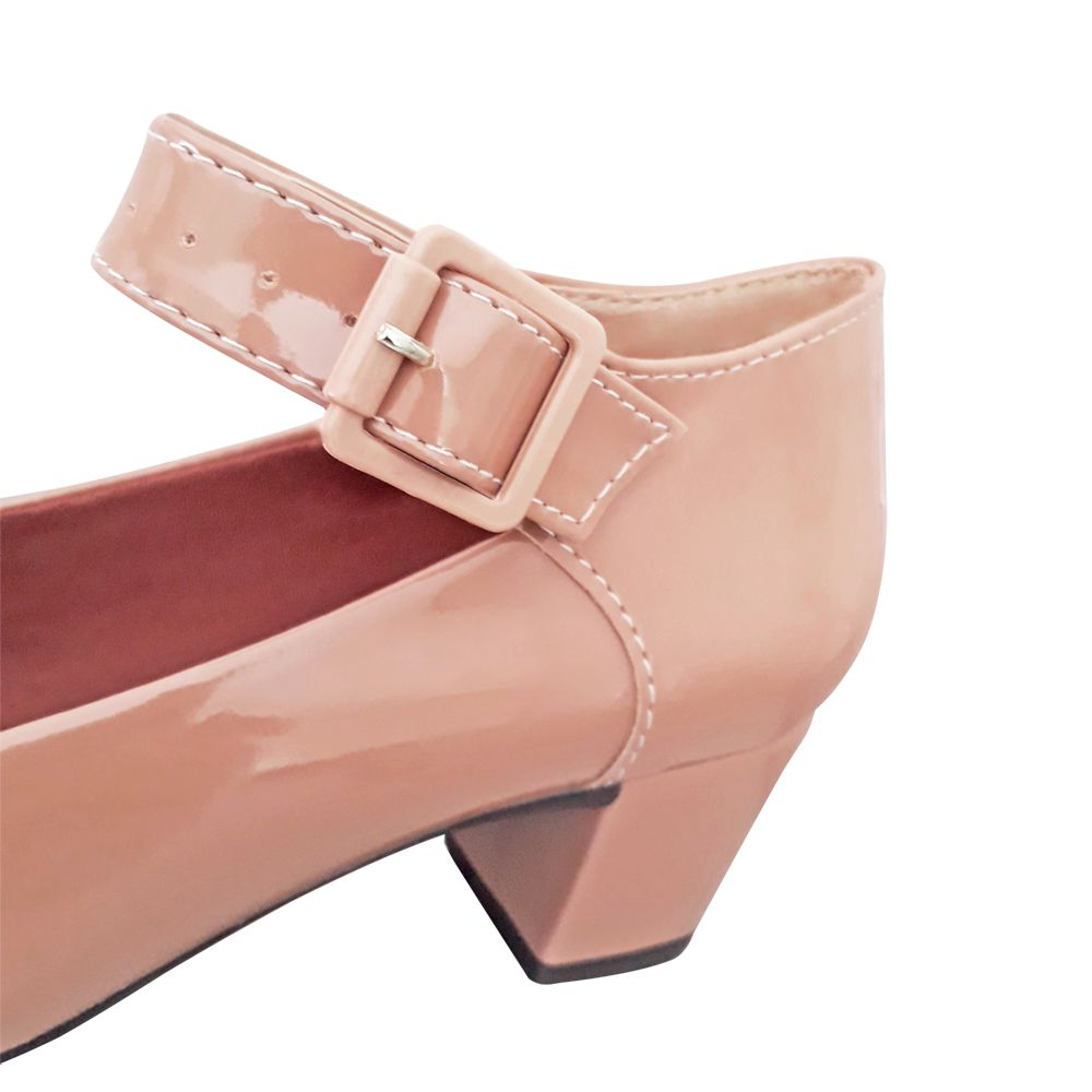 Sapato Feminino Boneca Nude Social Salto Baixo Grosso