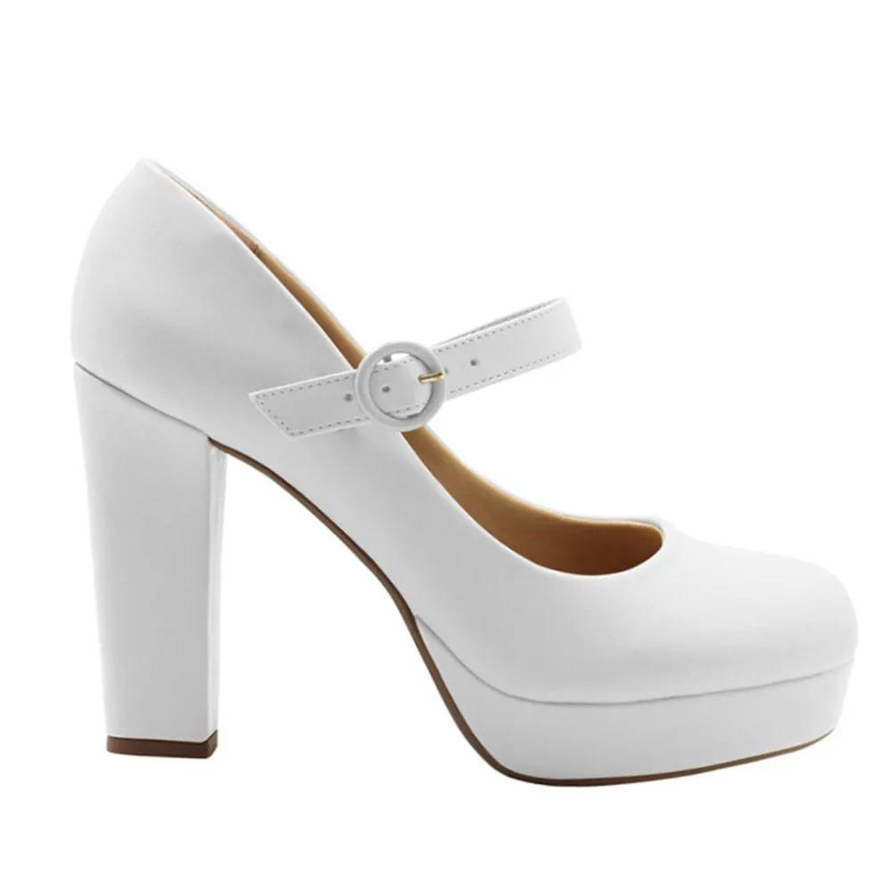 Sapato Boneca Duani Branco Noiva Salto Alto Grosso Feminino