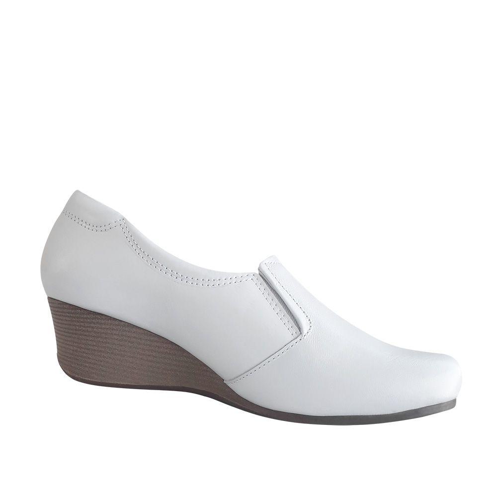 Sapato Feminino Branco Enfermagem Anabela Couro Neftali com Ziper