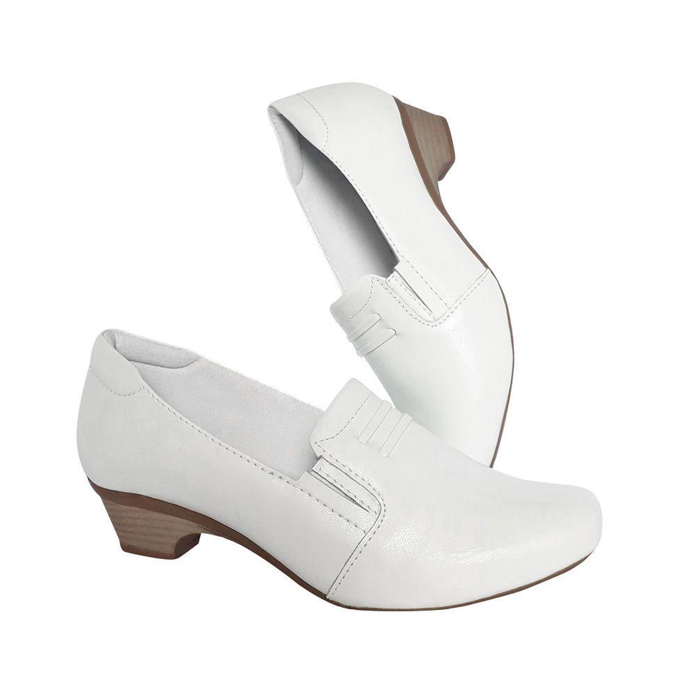 7f80c7f7cb Sapato Feminino Branco Enfermagem Couro Neftali Nr32 Confort - Duani ...