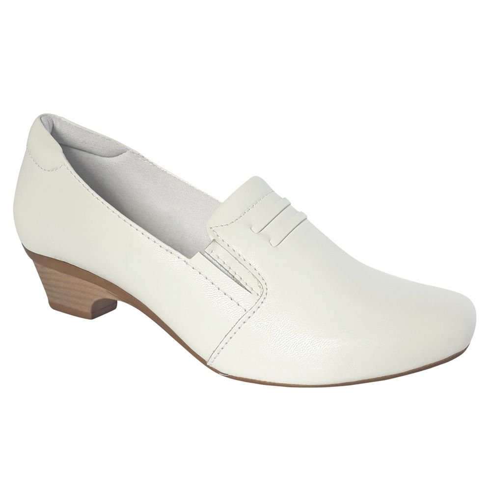 Sapato Feminino Branco Enfermagem Couro Neftali Nr32 Confort