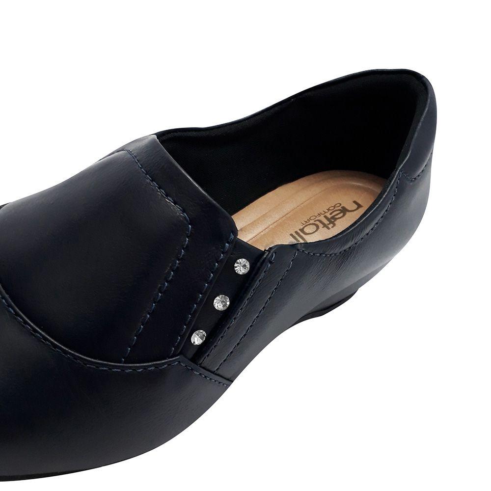 Sapato Feminino Enfermagem Azul Marinho Couro Neftali