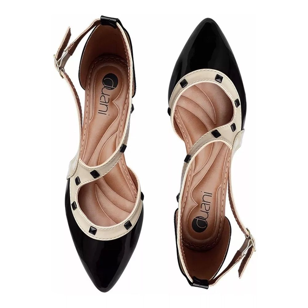 Sapato Feminino Nude Ou Preto Spike Bico Fino Confortavel