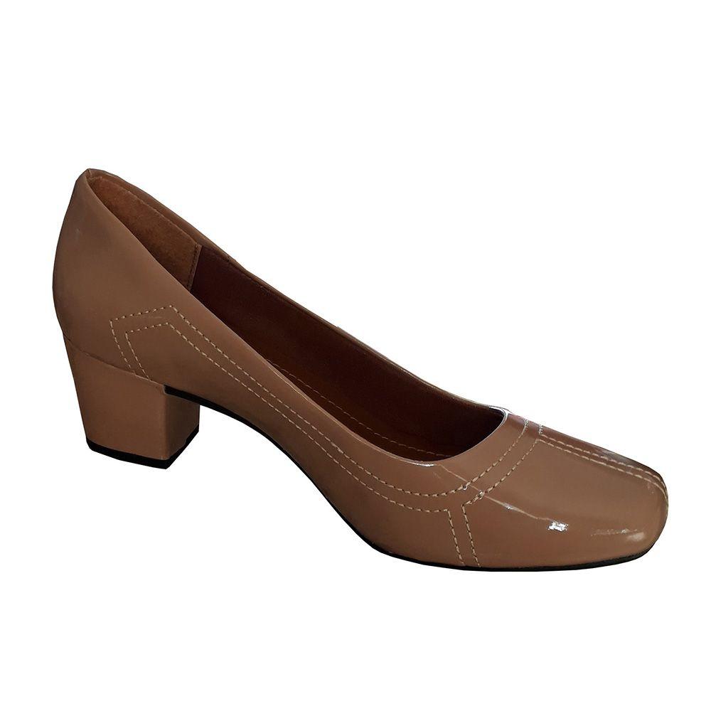 Sapato Feminino Nude Verniz Salto Baixo Grosso Boneca Social