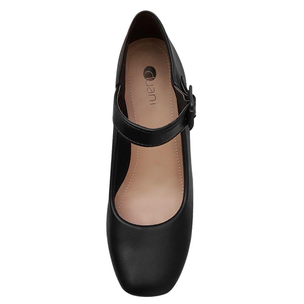 Sapato Feminino Preto Boneca Salto Baixo Grosso