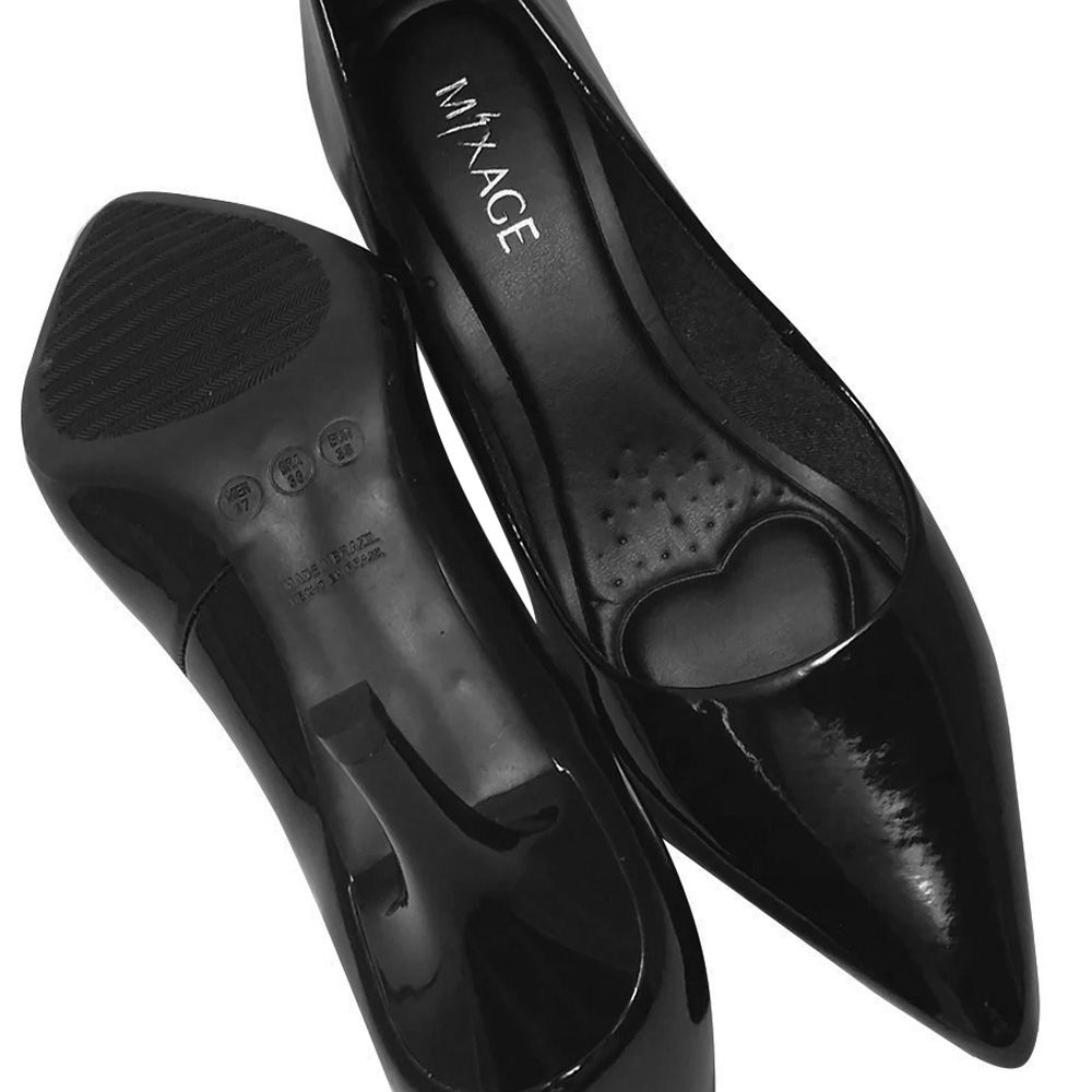 Sapato Feminino Scarpin Preto Verniz Salto Baixo Medio 6cm