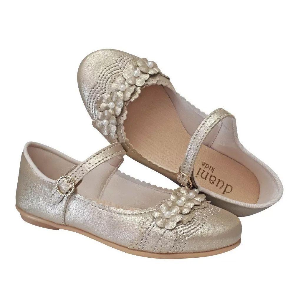 Sapato Infantil Menina Daminha Festa Casamento Noivinha Batizado Cor Dourado Fosco