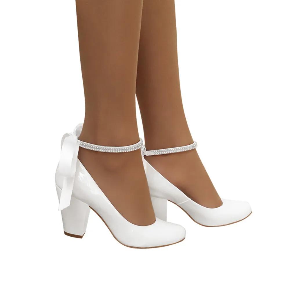 Sapato Noiva Boneca Branco Salto Grosso Duani