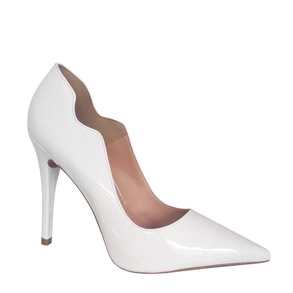 Sapato Noiva Scarpin Branco Verniz Salto Alto Duani