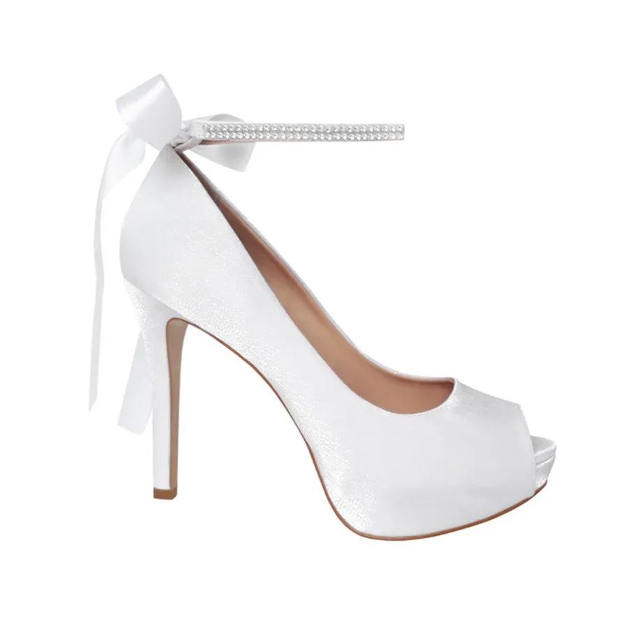 Sapato Noiva Scarpin Peep Toe Branco Meia Pata Salto Alto