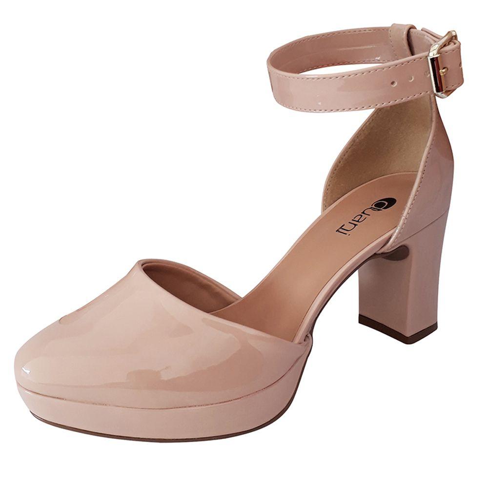 Sapato Nude Feminino Boneca Salto Alto Medio Grosso