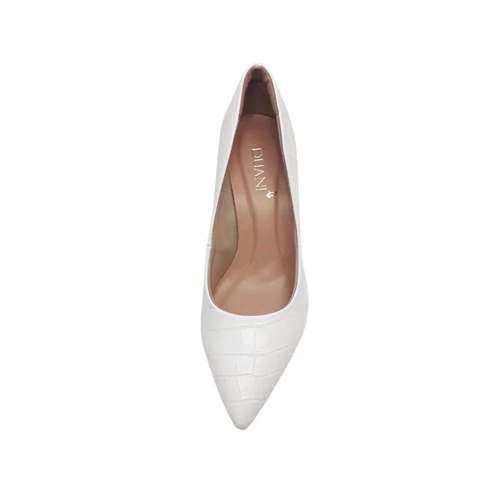 Sapato Scarpin Branco Croco Duani Salto Alto Confortavel