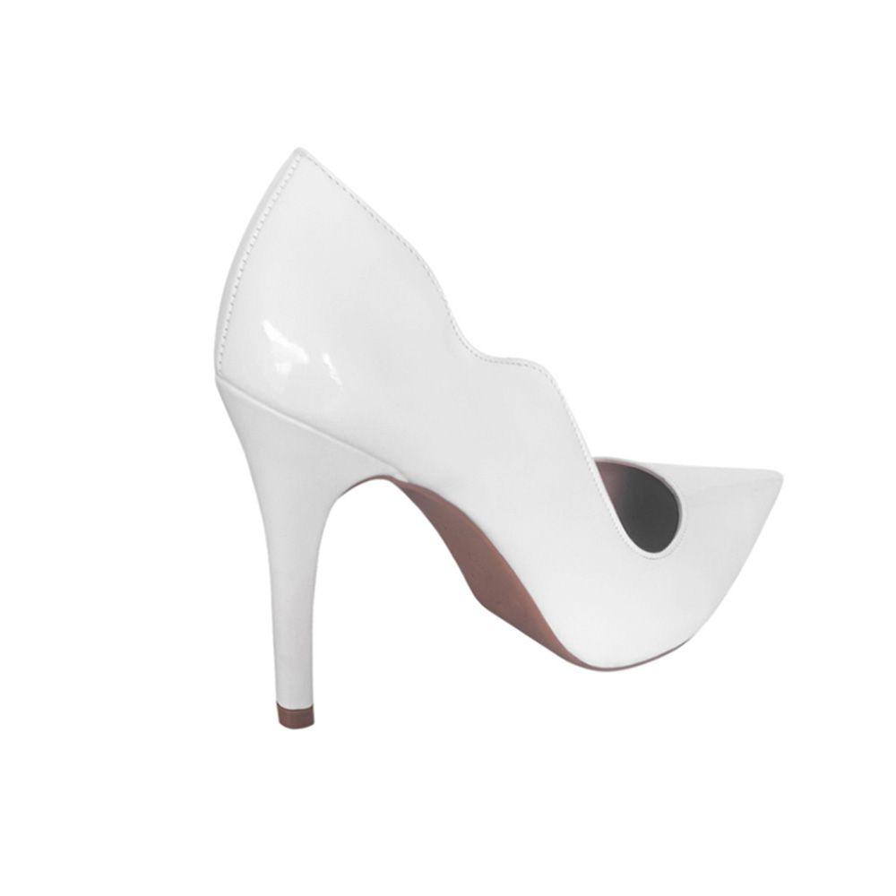 Sapato Scarpin Branco Verniz Feminino para Noiva Casamento com Salto Alto