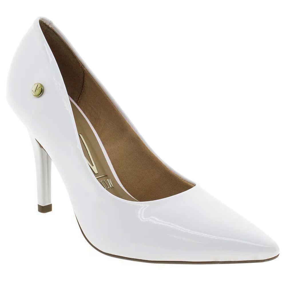 6ac3ebaac4 Sapato Scarpin Branco Verniz Salto Alto Noiva Festa Vizzano - Duani ...