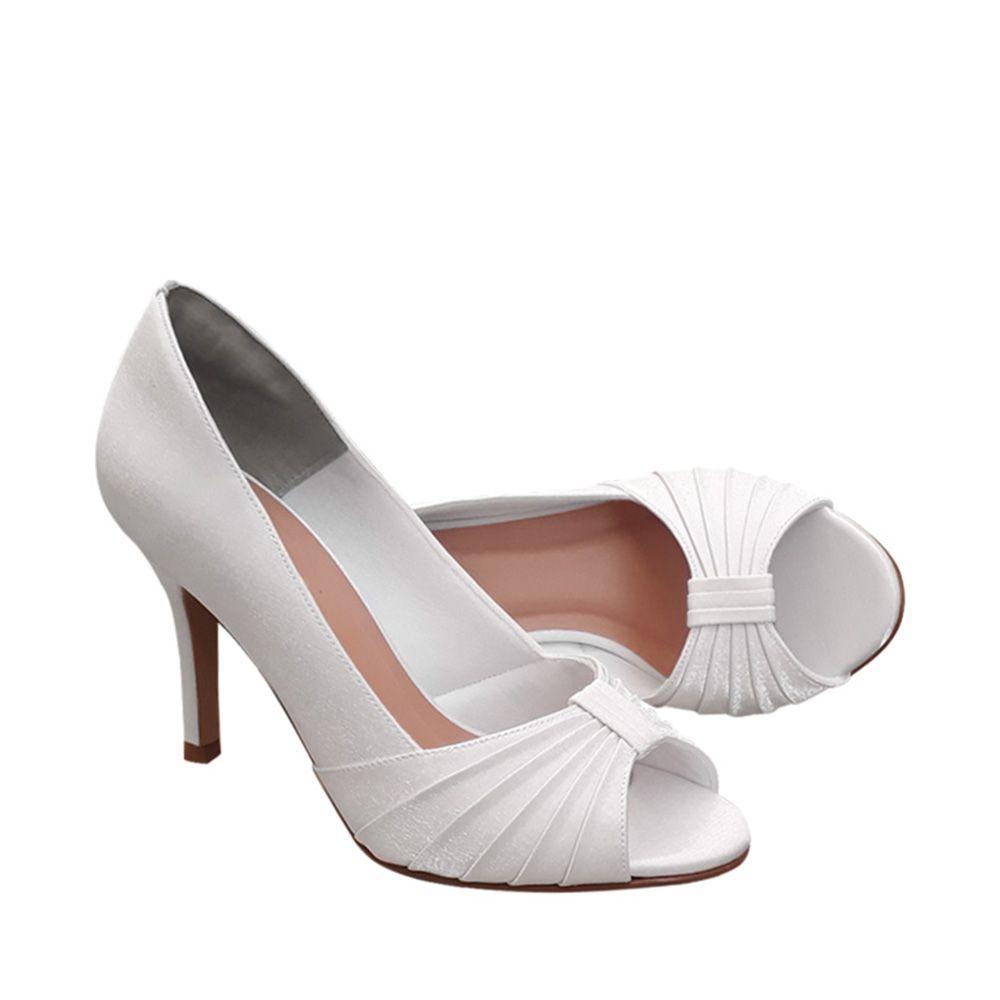 Sapato Scarpin Cetim Branco Salto Alto Noiva  Festa Duani
