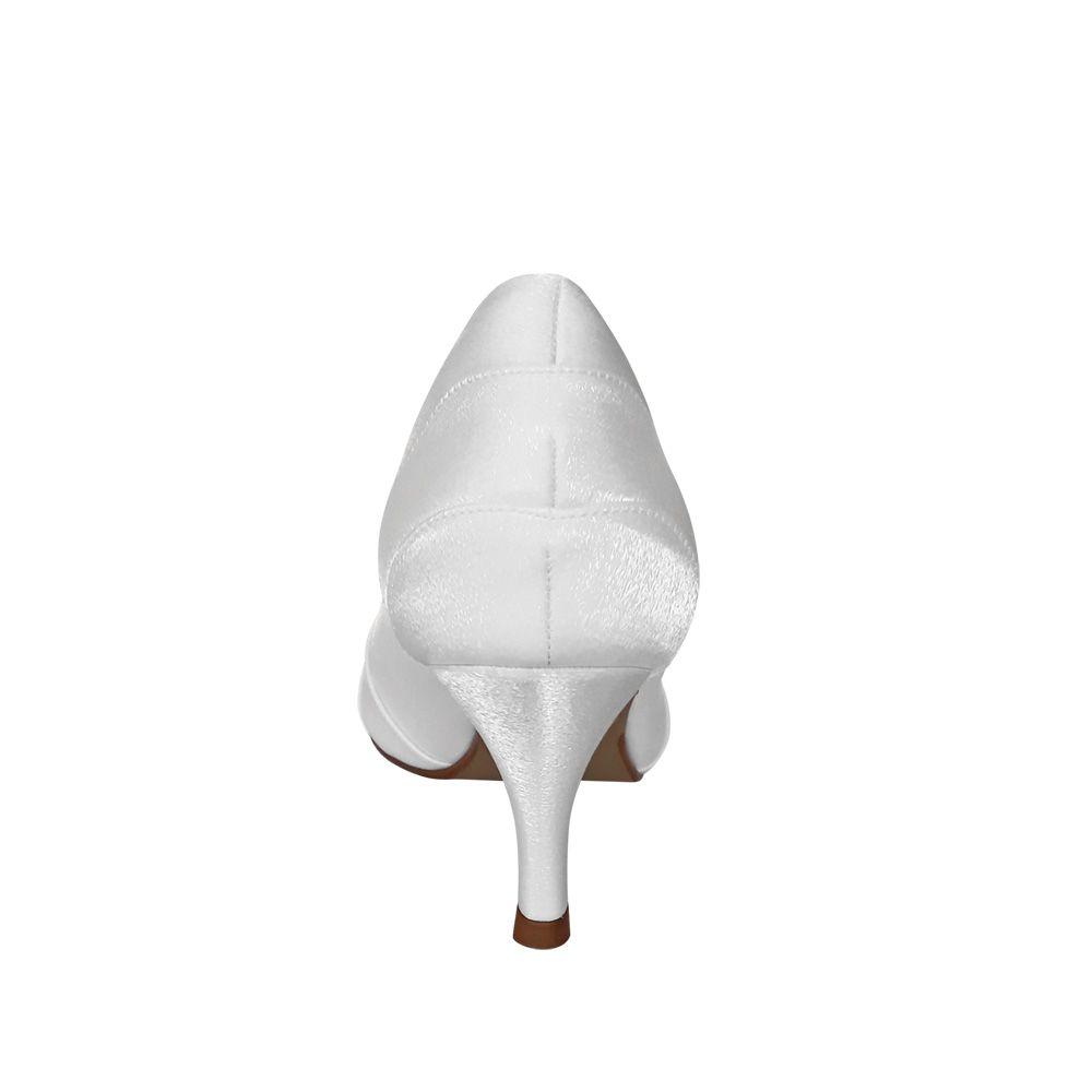 Sapato Scarpin Noiva Branco Cetim Salto Baixo