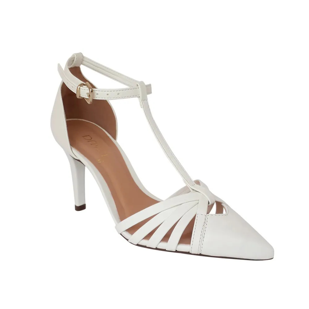 Sapato Scarpin Noiva Branco Tiras Salto Alto