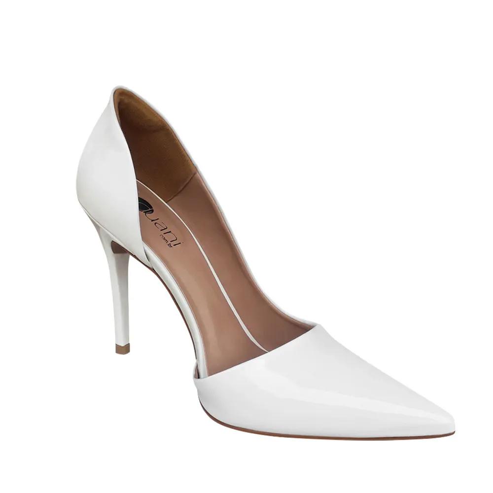 Sapato Scarpin Noiva Branco Verniz Salto Alto
