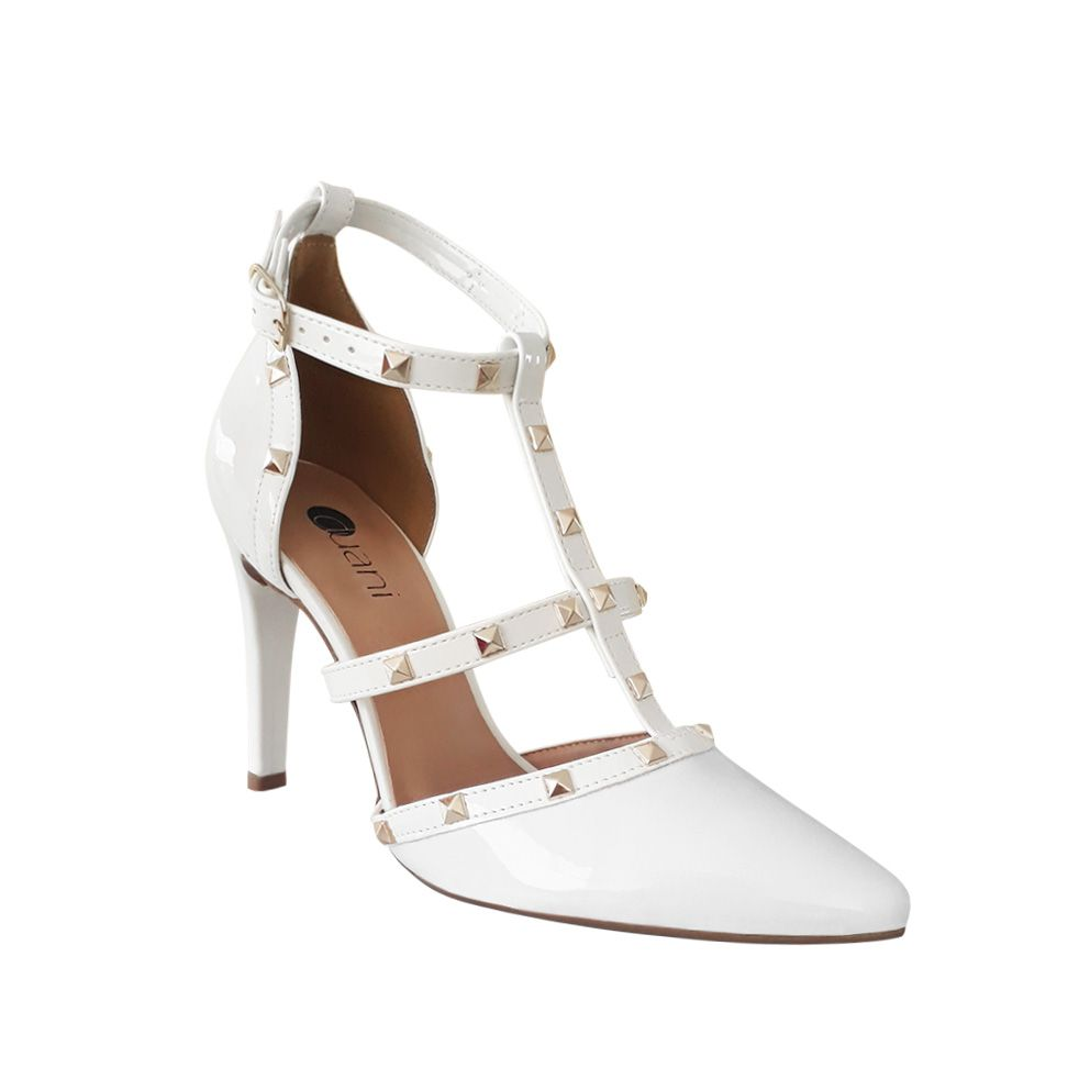 Sapato Scarpin Noiva Branco Verniz Spike Salto Alto