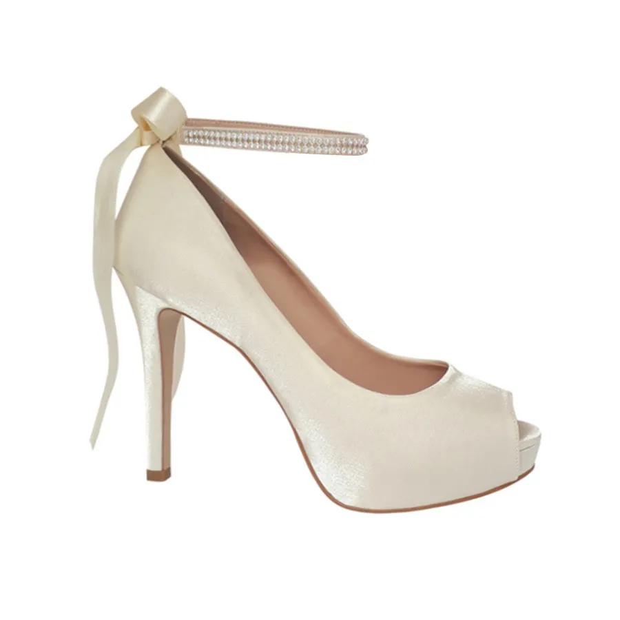 Sapato Scarpin Noiva Off White Peep Toe Salto Alto