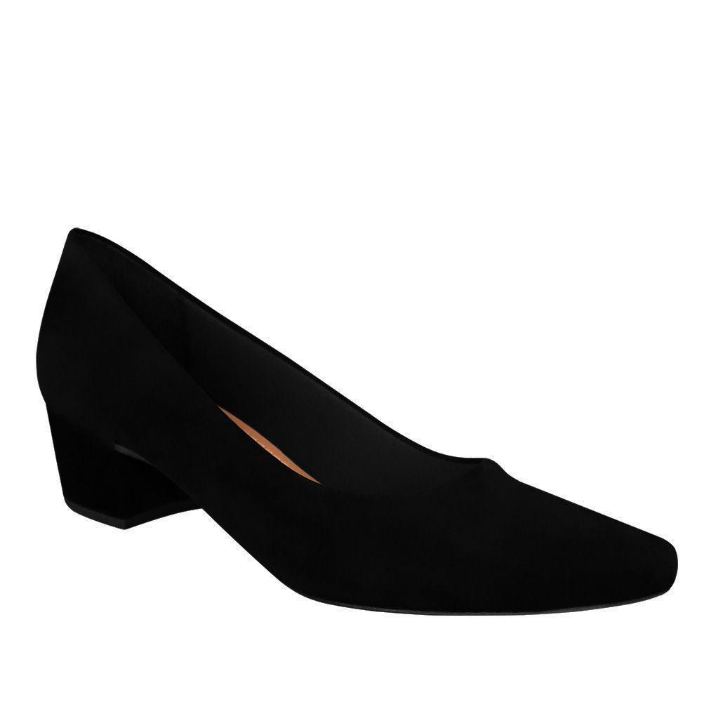 Sapato Scarpin Preto Salto Baixo Grosso Camurça Confortavel