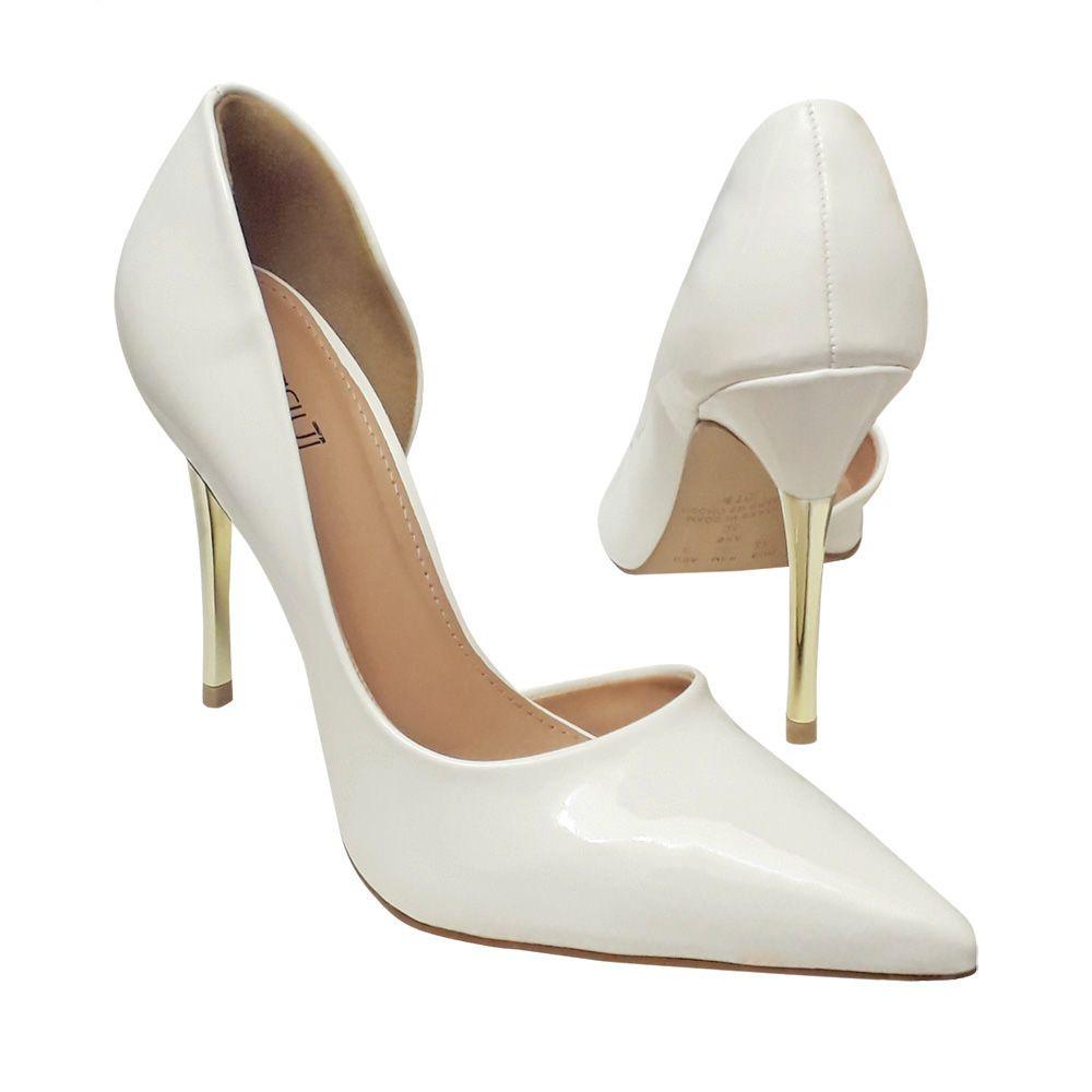 32a1527da Scarpin Noiva Branco Verniz Salto Alto Dourado Reveillon - Duani ...