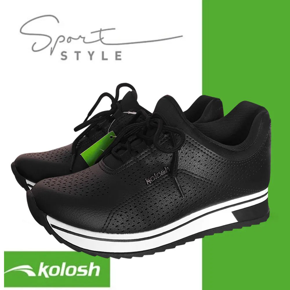 Tenis Kolosh Preto Jogging Sola Alta Comfort