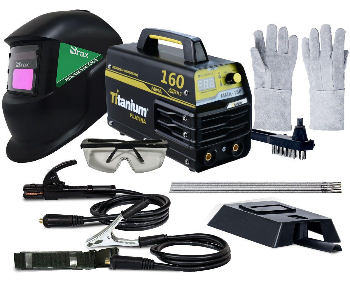 Inversora De Solda 160amp Biv Titanium Mascara Brax e kit