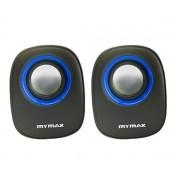 Caixa de Som Mymax 6W RMS USB P2 Preto Azul SPK-SP205/BL
